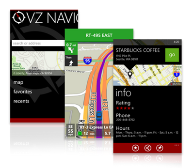 Screenshots of VZ Navigator
