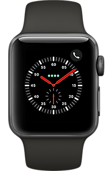 Apple® Watch Series 3, 38mm Space Gray Aluminum Case with Gray Sport Band