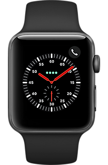 Apple® Watch Series 3 GPS + Cellular, 42mm Space Gray Aluminum Case with Black Sport Band