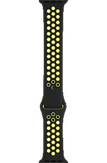 Image of 42mm Black/Volt Nike Sport Band - S/M - M/L