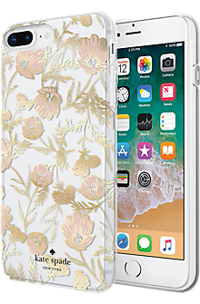 Flexible Hardshell Case for iPhone 8 Plus/7 Plus - Blossom Pink/Gold with Gems