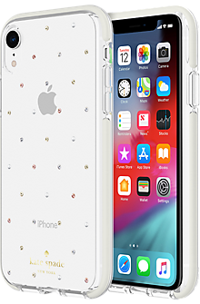 Defensive Hardshell Case for iPhone XR - Pin Dot Gems/Pearls/Clear