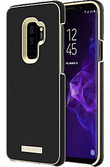 Wrap Case for Galaxy S9+ - Saffiano Black/Gold Logo Plate