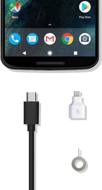 Bottom half of Google Pixel device with charging cable, Quick Switch Adapter and Sim Ejector tool