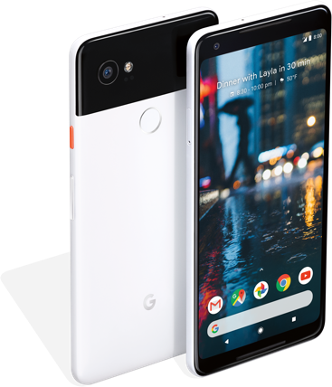 Product photo of Google Pixel front and rear - side by side
