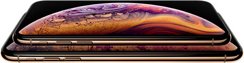 Two iPhones stacked on top of one another.