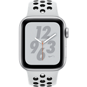 Apple® Watch Nike+ Series 4 GPS + Cellular, 40mm Silver Aluminum Case with Pure Platinum/Black Nike Sport Band
