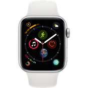Apple® Watch Series 4 GPS + Cellular, 44mm Silver Aluminum Case with White Sport Band
