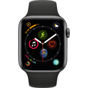 Apple® Watch Series 4 GPS + Cellular, 44mm Space Gray Aluminum Case with Black Sport Band