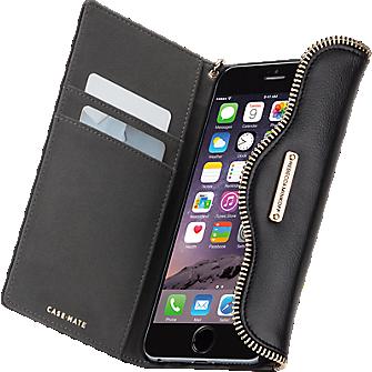 Genuine Leather Wristlet Folio for iPhone 6 Plus/6s Plus - Black