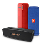 Shop wireless speakers including Bose SoundLink Mini II, JBL Flip 3, and UE BOOM 2.