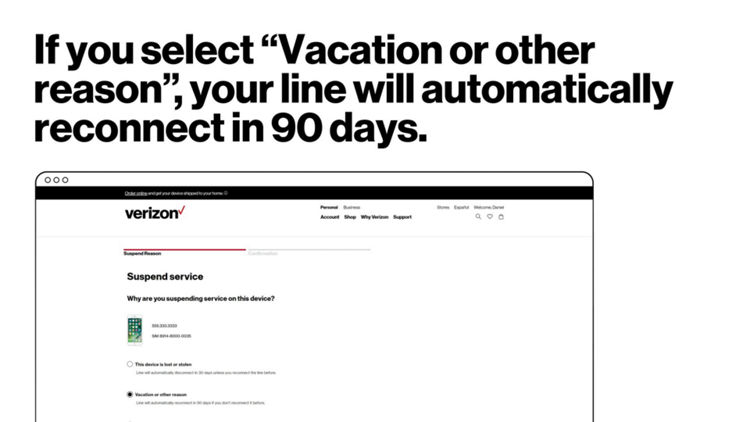 how to suspend or reconnect service verizon wireless