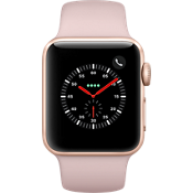 Reloj Apple® Watch Serie 3, 38 mm, caja dorada con correa deportiva color Pink Sand