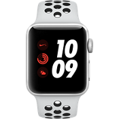 Apple® Watch Series 3, 38mm Silver Aluminum Case with Pure Platinum/Black Nike Sport Band