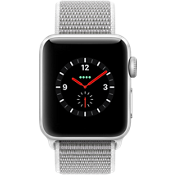 Apple® Watch Series 3, 38mm Silver Aluminum Case with Seashell Sport Loop