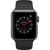 Apple® Watch Series 3, 38mm Space Gray Aluminum Case with Black Sport Band