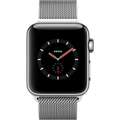 Reloj Apple® Watch Serie 3, 38 mm, caja de acero inoxidable con correa Milanese