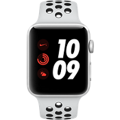 Apple® Watch Series 3, 42mm Silver Aluminum Case with Pure Platinum/Black Nike Sport Band
