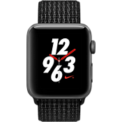 Reloj Apple® Watch Serie 3, 42 mm, caja de aluminio color Space Gray con correa deportiva Nike color negro/Pure Platinum
