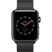 Apple® Watch Series 3, 42mm Space Black Stainless Steel Case with Space Black Milanese Loop