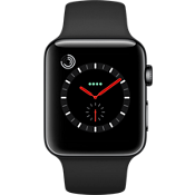Apple® Watch Series 3, 42mm Space Black Stainless Steel Case with Black Sport Band
