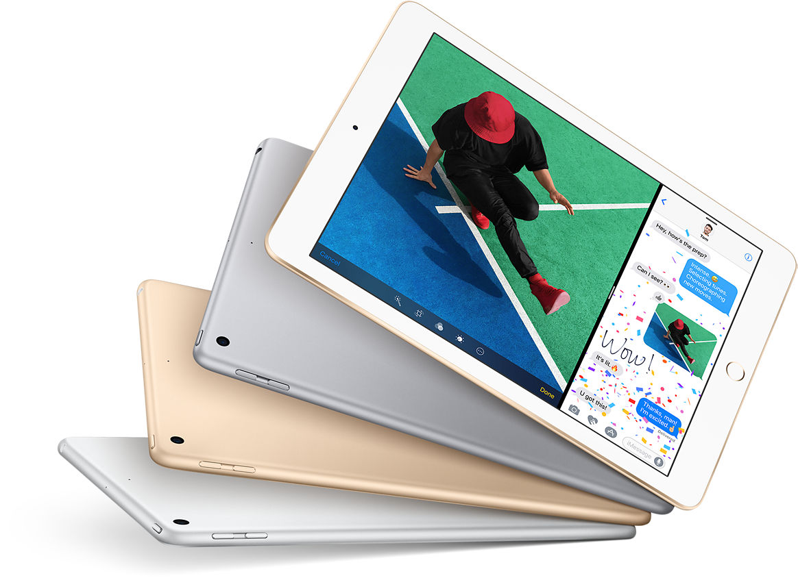 iPad: Flat-out fun. Buy now. Learn, play, surf, create. iPad gives you the incredible display, performance and apps to do what you love to do. Anywhere. Easily. Magically. 9.7-inch Retina display; 64-bit A9 chip; 10-hour batter life; Over 1 million apps; iOS 10; 8MP and FaceTime HD cameras; Touch ID fingerprint sensor; 1 pound; Wi-Fi and LTE;