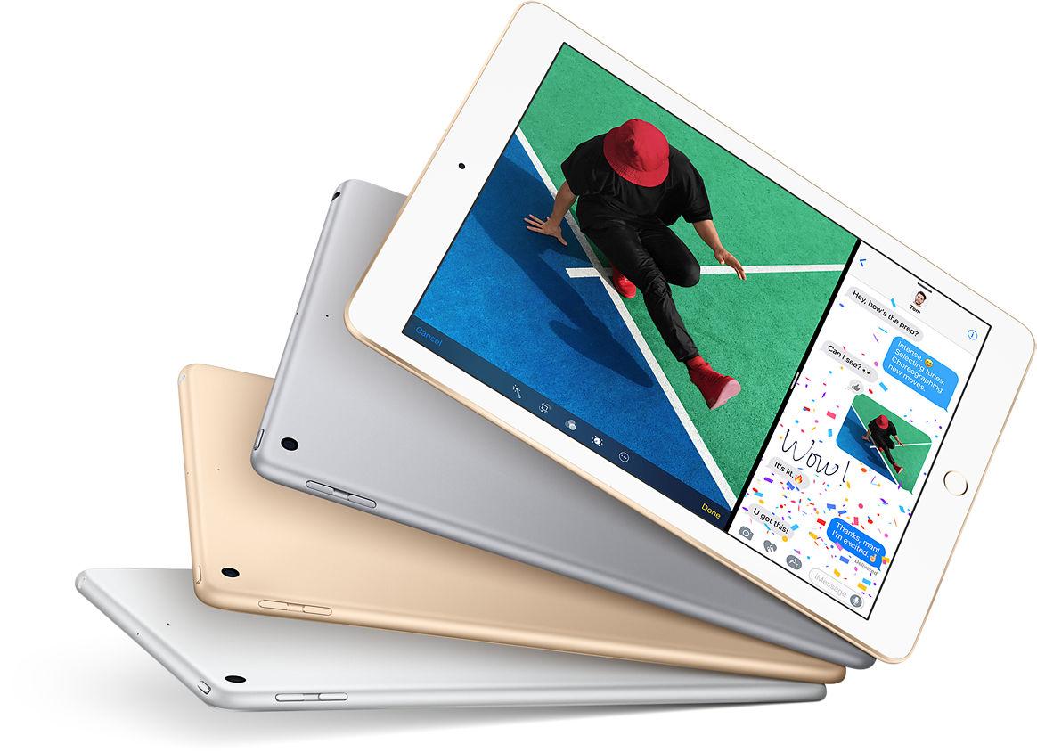 iPad: diversión a toda máquina. Cómpralo ahora. Aprende, juega, navega y crea. El iPad te ofrece una pantalla, un rendimiento y apps increíbles para que hagas todo lo que te gusta. Es práctico, fácil y mágico. Pantalla Retina de 9.7 pulgadas; chip A9 de 64 bits; 10 horas de batería; más de 1 millón de aplicaciones; iOS 10; cámara de 8 MP y FaceTime HD; sensor de huellas digitales Touch ID; 1 libra; Wi-Fi y LTE;