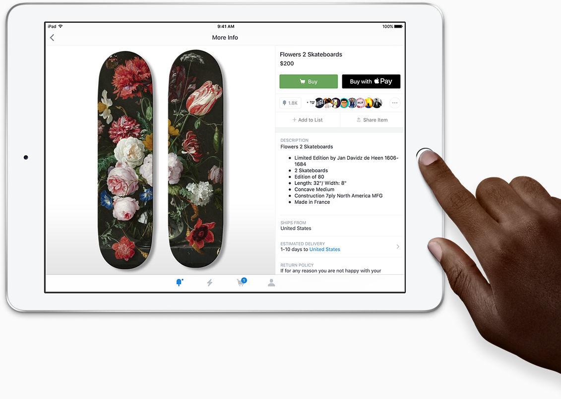 Touch ID: Desbloquea e inicia sesión con un simple toque. Seguridad avanzada. En la punta de tu dedo. Tu huella dactilar es la contraseña perfecta porque es única y siempre la llevas contigo. Con Touch ID puedes desbloquear tu iPad al instante y proteger los datos privados de tus apps. También puedes usarlo para hacer compras en apps y sitios web con Apple Pay.