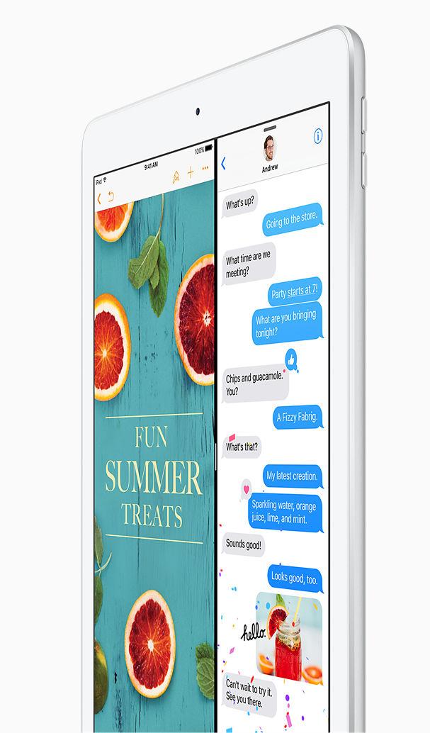 iOS 10: Personal. Poderoso. Divertido. Un SO móvil moderno. iOS 10 es el sistema operativo móvil más avanzado, intuitivo y seguro del mundo. Es tan poderoso que podrás trabajar y jugar usando dos apps a la vez, pedirle a Siri que envíe un mensaje y hacer respaldos automáticos en iCloud para acceder a tus archivos desde cualquier lugar. Además, con los apps integrados podrás aprovechar al máximo tu iPad. Mensajes: Usa emojis expresivos y videos para animar las conversaciones con tus familiares y amigos; Fotos: Encuentra, edita y comparte tus fotos de formas completamente nuevas; Mapas: Viaja de manera más inteligente con indicaciones de voz paso a paso y vistas interactivas de la ciudad en 3D; Pages, Numbers y Keynote: Todo lo que necesitas para crear documentos, hojas de cálculo y presentaciones increíbles.