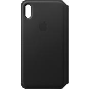 Leather Folio Case for iPhone XS Max - Black