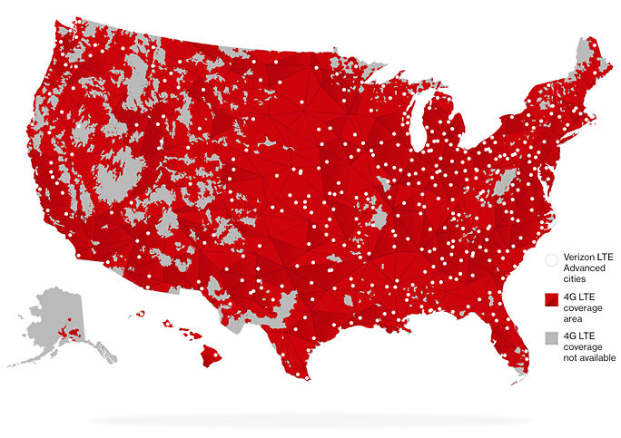 Map of LTE Advanced Coverage of the US