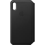 Leather Folio Case for iPhone XS - Black