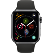 Apple® Watch Series 4 GPS + Cellular, 44mm Space Black Stainless Steel Case with Black Sport Band