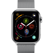 Apple® Watch Series 4 GPS + Cellular, 44mm Stainless Steel Case with Silver Milanese Loop