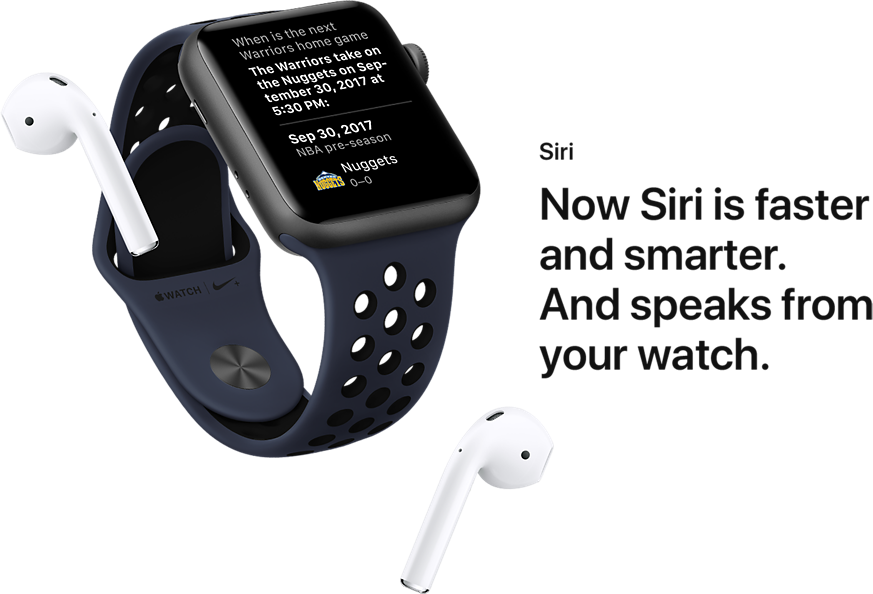 Siri. Now Siri is faster and smarter. And speaks from your watch.