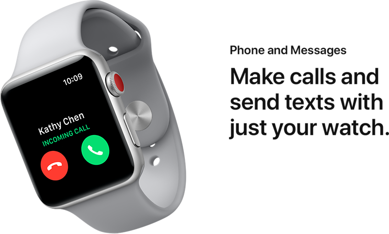 Phones and Messages. Make calls and send texts with just your watch.