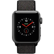 Apple Watch Series 3, 38mm Space Gray Aluminum Case with Black Sport Loop