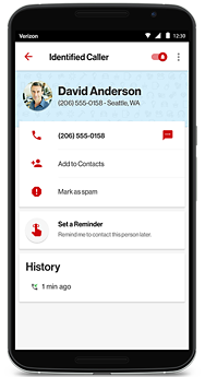Verizon Wireless mobile device with recognized incoming call