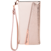 Leather Wristlet Folio Case for iPhone 7 Plus - Rose Gold