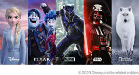 Disney lineup of available shows: Frozen, Onward Detail, Iron Man, Star Wars, and more