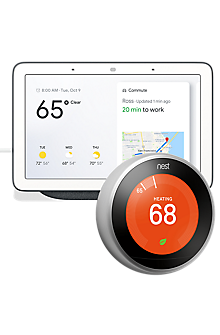 Nest 3rd Generation Learning Thermostat (Stainless Steel) + Google Home Hub