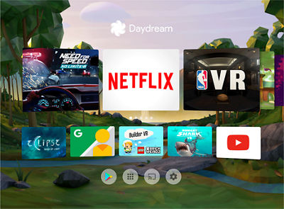 Screen of available Apps for Google Daydream View
