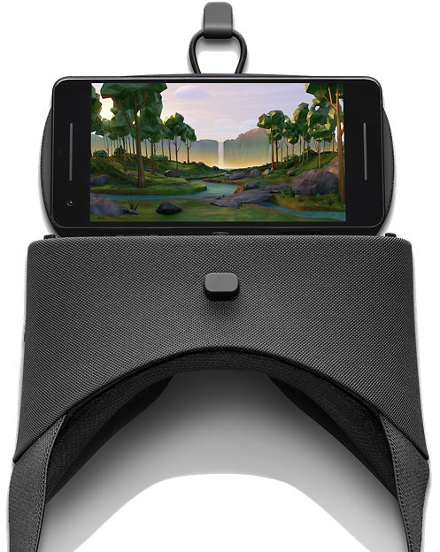 Google Daydream-ready phone inserted in Google Daydream View