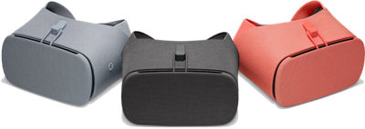 3 Google Daydream Views. In colors Charcoal, Fog, and Coral