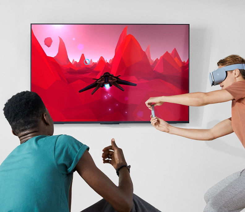 Google Daydream View gameplay projected on flat screen TV.