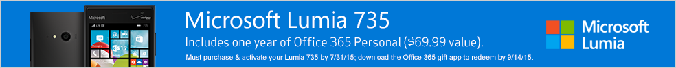 Microsoft Lumia 735 - Includes one year of Office 365 Personal ($69.99 value).