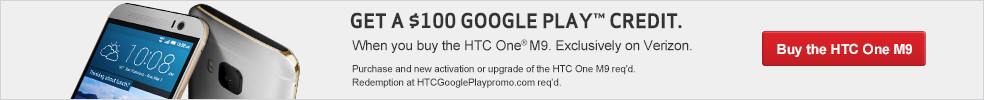 Buy the HTC One M9 and get a $100 Google Play Credit.