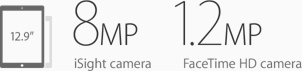 8MP iSight Camera. 1.2MP FaceTime HD Camera.