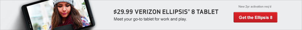 $49.99 Verizon Ellipsis 8 Tablet. Meet your go-to-tablet for work and play (originally $79.99).