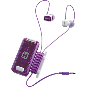 iHome Fitness Earbuds with Clip-On LED Safety Flasher and Cord Wrap - White and Purple